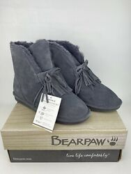 BEARPAW Christie Suede Sheepskin Fringe Charcoal Boot with NeverWet Size 9 $55.99