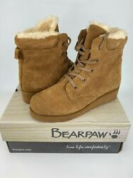 BEARPAW Phoebe Leather Hickory Boot with NeverWet Size 8 $48.99