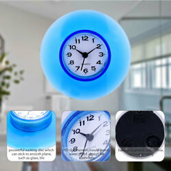 Mini Bathroom Kitchen Mirror Suction Wall Clock Shower Waterproof Quartz Clocks $5.83
