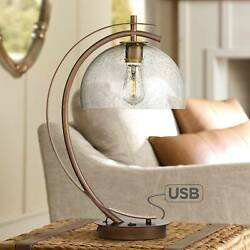 Modern Table Lamp with USB Filament LED Bronze Glass for Living Room Bedroom $129.99
