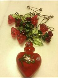 MURANO ITALY PERFUME VIAL PENDANT VINTAGE RED GLASS FLOWER LEAF NECKLACE. OOAK $68.00