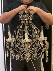 PAIR Palatial Antique French Iron Crystal Macaroni Beaded Chandelier Wall Sconce $2750.00