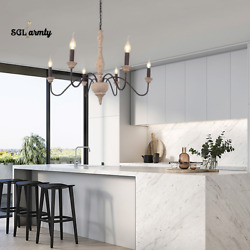 French Country Chandelier Pendant 5 Light Candle Style Wood Rust Fixture Home US $159.99
