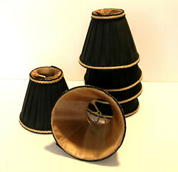 Chandelier Shades Set of Six Black with Gold Braid Trim $75.00