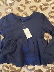NWT Baby Gap Girls Long Sleeve Eyelet Top Navy 12 18 Months $12.99