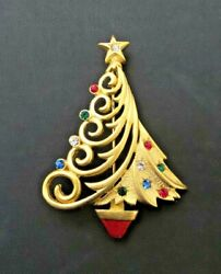 Signed JJ Multi Colored Rhinestone Gold Swirl Christmas Tree Pin Brooch $9.99