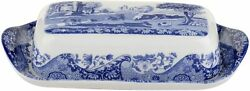 Spode Blue Italian Covered Butter Dish Porcelain 8 x 4 Blue White $49.99