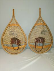 EXCELLENT BEAR PAW SNOWSHOES #x27;Faber#x27; 35x18 Snow Shoes LEATHER BINDINGS LABELS $162.00