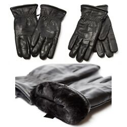 Faux Leather Super Thick W Fur Lined winter Warm Gloves Men Woman Driving $13.99