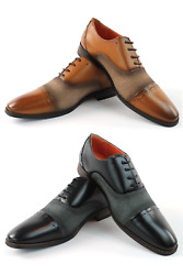 Mens Cap Toe Dress Shoes Lace Up Oxfords Mid Fabric Leather Lining Santino 471 $38.95
