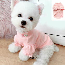 Small Dog Pet Warm Clothes Pink Embroidery Flower Shirt Cat Puppy Chihuahua Coat $4.99