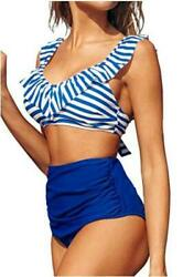 CUPSHE Women#x27;s Blue Striped High Waisted Bikini with Ruffle Blue Size Large $10.99