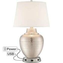 Modern Table Lamp with USB Outlet Workstation Base Hammered Nickel Living Room $169.98