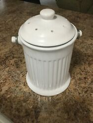 NORPRO 93 CERAMIC 1 GALLON COMPOST KEEPER CROCK WHITE EASY CLEAN WITH FILTER $29.99