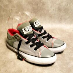 Converse All Star Boys Sz 2Y Gray Green Canvas Low Top Sneakers Fat Tongue $24.99