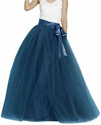 Lisong Women Floor Length Bowknot Tulle Party Evening Skirt Navy Blue Size 6.0 $9.99