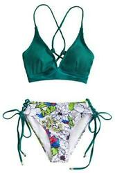 CUPSHE Women#x27;s Bikini Set V Neck Lace Up Two Piece Swimsuits Teal Size Medium $9.99