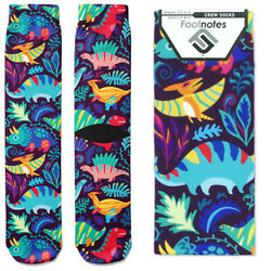 Colorful Dinosaurs Crew Socks Footnotes Novelty Socks $12.00