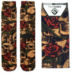 Skulls amp; Roses Crew Socks Footnotes Novelty Socks $12.00