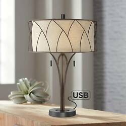 Mid Century Modern Table Lamp with USB Port Metal Drum Shade Living Room Bedroom $179.95
