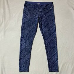 Spalding Leggings in Blue amp; Black Animal Print Women#x27;s Size Large $12.00