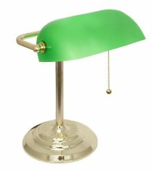 Bankers Lamp Desk Lamp with Polished Brass with Green Shade by Light Accents $39.95