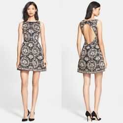 Alice Olivia $697 Lillyanne Beaded Rose Gold Dress Embroidered Cocktail Size 8 $110.00