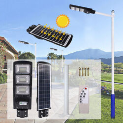 180LED Solar Street Light Commercial Outdoor Area Security Road Lamp with pole