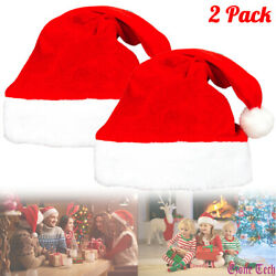 2 Pack Christmas Santa Claus Hat Holiday Party Cosplay Costume Plush Cap S L $7.98