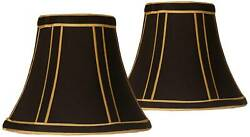 Set of 2 Black with Gold Trim Lamp Shades 3x6x5 Clip On $19.99