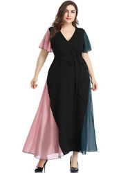Womens Lightweight Short Sleeve Soft Chiffon Flowy Tie Up Waist Holiday Dresses $23.48