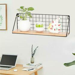 Wood and Metal Floating Shelves Wall Mounted Rustic for Bedroom Bathroom Living $16.99