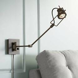 Industrial Swing Arm Wall Lamp LED Spotlight Bronze Plug In Fixture for Reading $99.99