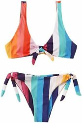 SweatyRocks Women#x27;s Sexy Bikini Swimsuit Tie Knot Front Colorfu# Size Large $9.99