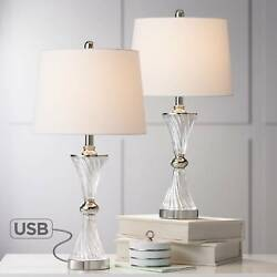 Modern Table Lamps Set of 2 with USB Chrome and Glass for Living Room Bedroom $99.99