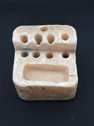 Ancient bactrian alabaster stone Kings pen used relief peice $400.00