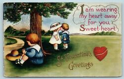 Postcard Valentines Boy Waits For Girl Who Is Kissing Another Boy c1919 Y14 $6.99