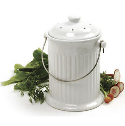 White Ceramic Kitchen Compost Keeper Bin with Odor Preventing Charcoal Filter $94.99