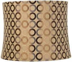Copper Circles Grey Drum Lamp Shade Modern Tan Fabric 13x14x11 Spider $39.99