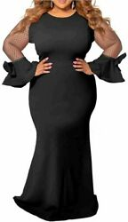 Womens Plus Size Cocktail Evening Party Mermaid Long Maxi Black Size 4X Large $47.17