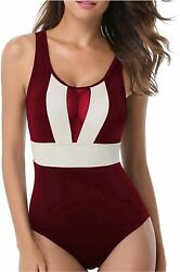 Holipick 1 Piece Swimsuits for Women See Through Top Cut Wine Red Size Large $9.99