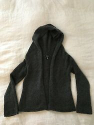 Eileen Fisher wool hooded cardigan charcoal gray xs $50.00