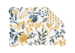 NATURAL HOME Quilted Reversible Placemat by Camp;F Gray Gold Dark Blue Ivory $8.95