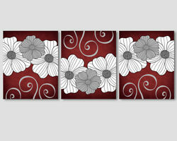 Set of 3 prints modern wall decor burgundy red and white grey flowers art $17.99