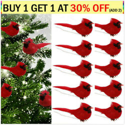 20X Red Feather Artificial Birds Clip On Christmas Tree Ornament Decorations USA $8.98
