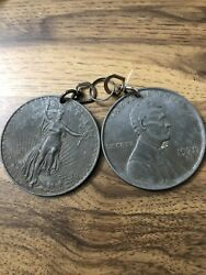"Vtg 70's Pair Keychain 3"" Coins Large Big Novelty Penny amp; Double Eagle $6.00"