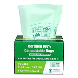 Primode 100% Compostable Bags 6 Gallon Food Scraps Yard Waste Bags 50 Count By $24.45