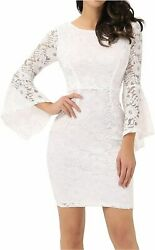 Noctflos Long Sleeve Lace Cocktail Dresses for Women Party White Size Small Tk $31.99
