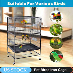 Folding Pet Large Wrought Iron Flight Cage With Stand Black 31lx20dx52h Inches $123.99