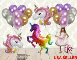 RAINBOW BALLOON SET: 3 UNICORN FOILMETALLIC CHROME PINK PURPLE PARTY DECORATION $16.97
